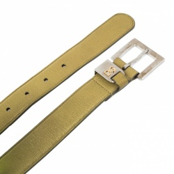 Dolce and Gabbana Green Leather Buckle Belt 75 CM