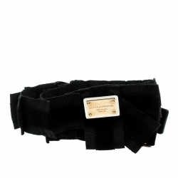 Dolce and Gabbana Black Canvas and Suede Logo Waist Belt 85CM