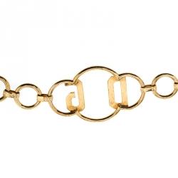 Dolce and Gabbana Logo Crystal Gold Tone Chain Link Belt