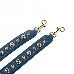 Dolce and Gabbana Blue Studded Bag Strap