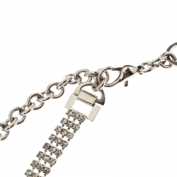 Dolce and Gabbana Crystal Silver Tone Chain Link Waist Belt