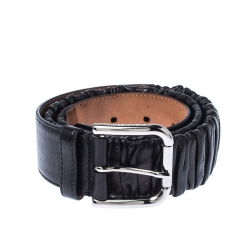 Dolce & Gabbana Black Scrunch Leather Buckle Belt 85 CM