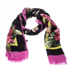 Dolce & Gabbana Black Printed Cashmere Blend Rose Fondo Neronero Scarf