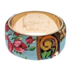 Dolce & Gabbana Multicolor Floral Print Fabric Wide Bangle Bracelet