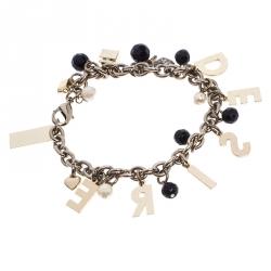 Dolce and Gabbana Desire Charm Enamel Gold Tone Bracelet