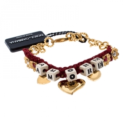 Dolce and Gabbana Amore Red Woven Gold Tone Charm Bracelet