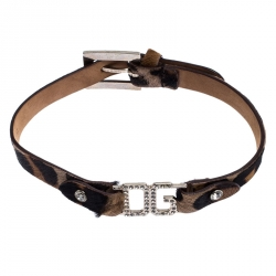 Dolce and Gabbana Brown Leather Silver Tone Choker Necklace