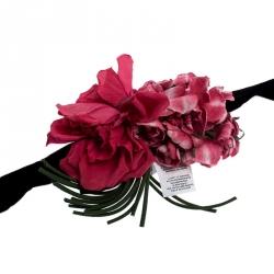Dolce and Gabbana Black Velvet Floral Applique Detail Tie Belt