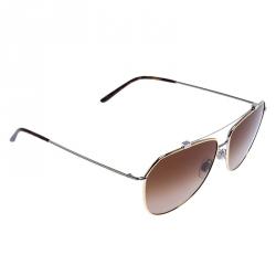 Dolce & Gabbana Two Tone Metal/ Brown Gradient DG-2190 Aviator Sunglasses