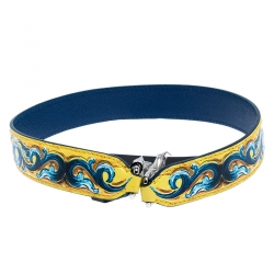 Dolce and Gabbana Yellow/Blue Leather Majolica Bag Strap