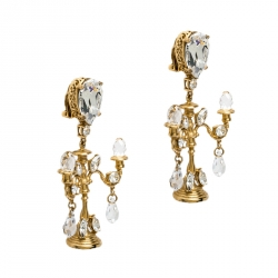 Dolce & Gabbana Gold Tone Crystal Embedded Chandelier Clip On Earrings