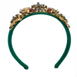 Dolce & Gabbana Green Silk Crystal Embellished Tiara Headband ( One Size )