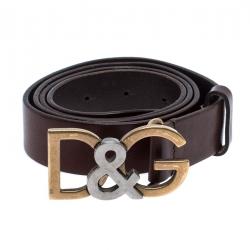 Dolce & Gabbana Brown Leather Logo Belt Size 95CM
