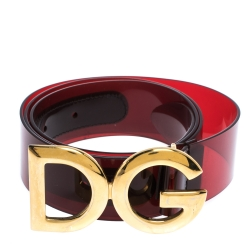 Dolce & Gabbana Red PVC Logo Buckle Belt 90CM
