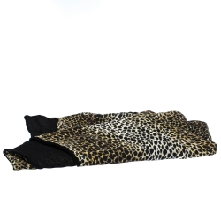 D&G Brown Leopard Print Silk and Wool Scarf