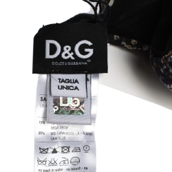 D&G Black Sequins Print Silk and Wool Scarf