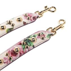 Dolce & Gabbana Floral Print Leather Studded Bag Strap