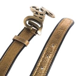 Dolce & Gabbana Metallic Gold/Black Leather D&G Logo Buckle Belt 90CM