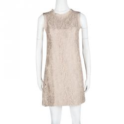 Dolce and Gabbana Beige Floral Lace Sleeveless Dress S