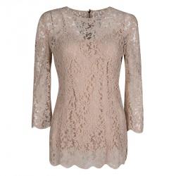 3a74a5eccec589 Dolce and Gabbana Blush Pink Floral Lace Scallop Trim Long Sleeve Blouse M