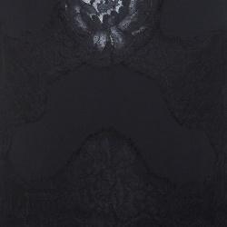 Dolce and Gabbana Black Scalloped Lace Trim Sleeveless Dress S