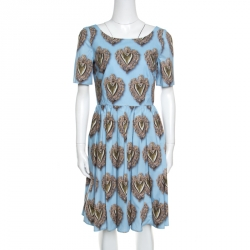 d1c300cdcf Dolce and Gabbana Blue Sacred Hearts Printed Cotton Short Sleeve Dress M