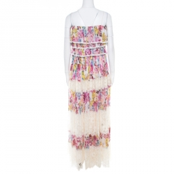 D&G Multicolor Floral Printed Silk and Lace Paneled Tiered Bodice Maxi Dress S