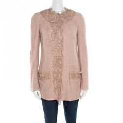 73dacb33ef3 Dolce and Gabbana Mauve Pink Cotton Silk Tweed Lace Detail Button Front  Jacket S