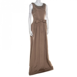 01ff33eaa39 Dolce   Gabbana Brown Embellished Silk Sleeveless Gown M