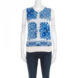a84d2957c Dolce and Gabbana Blue and White Majolica Print Panel Sleeveless Silk Top M