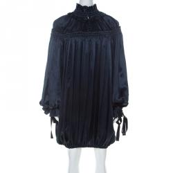 Dolce & Gabbana Navy Blue Satin Contrast Tie Detail Gathered Ruffled Trim Long Sleeve Dress S