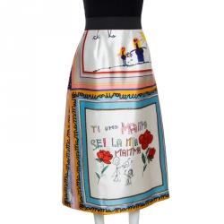 Dolce & Gabbana Multicolor Silk Drawing Print Midi Skirt M