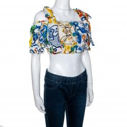 Dolce & Gabbana Multicolor Cotton Majolica Print Off Shoulder Cropped Top M