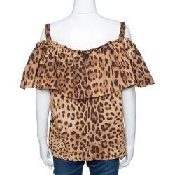 Dolce & Gabbana Brown Leopard Print Cotton Off Shoulder Blouse L