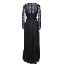 Dolce & Gabbana Black Silk Floral Lace Detail Maxi Dress L