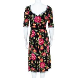 Dolce & Gabbana Black Hydrangea Printed Crepe Tulle Trim Detail Rosline Dress M