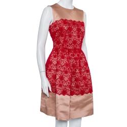 Dolce & Gabbana Beige Satin Lace Trim Detail Sleeveless Mini Dress M