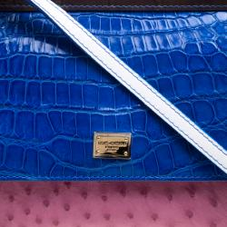 Dolce and Gabbana Multicolor Croc and Ostrich Leather Small Miss Sicily Top Handle Bag