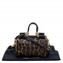 Dolce and Gabbana Leopard Print Coated Canvas Miss Sicily Bowling Bag