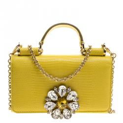 f761082fa900 Dolce and Gabbana Yellow Lizard Embossed Leather Crystal Embellished Sicily  Von Smartphone Bag