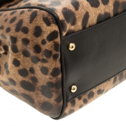 Dolce and Gabbana Leopard Print Coated Canvas Medium Miss Sicily Tote