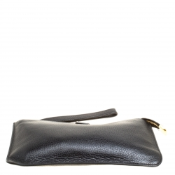 Dolce and Gabbana Black Leather Wristlet Clutch