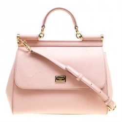 bdae4c2663930d Dolce and Gabbana Blush Pink Leather Medium Miss Sicily Top Handle Bag