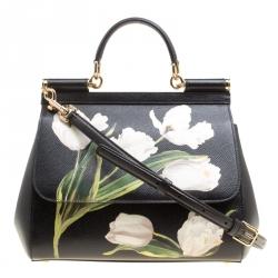 1e79acaae1e Dolce and Gabbana Black Multicolor Tulip Print Leather Medium Miss Sicily  Top Handle Bag