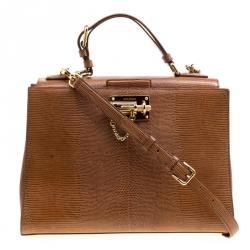 Dolce   Gabbana Brown Lizard Embossed Leather Large Monica Top Handle Bag 2c89f70e4b008