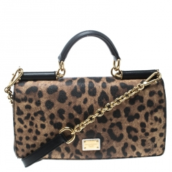 ef6a2767 Dolce and Gabbana Leopard Print Coated Canvas Miss Sicily Top Handle Bag