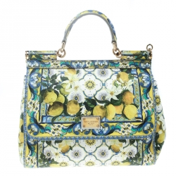 a38ad4b0c4b3 Dolce and Gabbana White Multicolor Lemon Print Leather Medium Miss Sicily  Tote