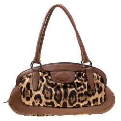 e656045154c9 Dolce & Gabbana Brown Leopard Print Fabric and Leather Animalier Zip Satchel