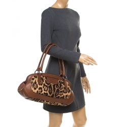 Dolce   Gabbana Brown Leopard Print Fabric and Leather Animalier Zip Satchel 0d76b6cfc8
