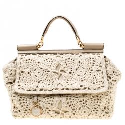 5fc286e18fbf Dolce & Gabbana Off White/Beige Crochet Fabric Large Miss Sicily Top Handle  Bag